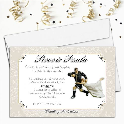 10 Personalised Bride Rugby Tackle Wedding Invitations ~ Day / Evening N48